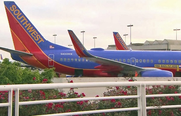 A Southwest Airlines plane is seen in a file photo. (Credit: KTLA)