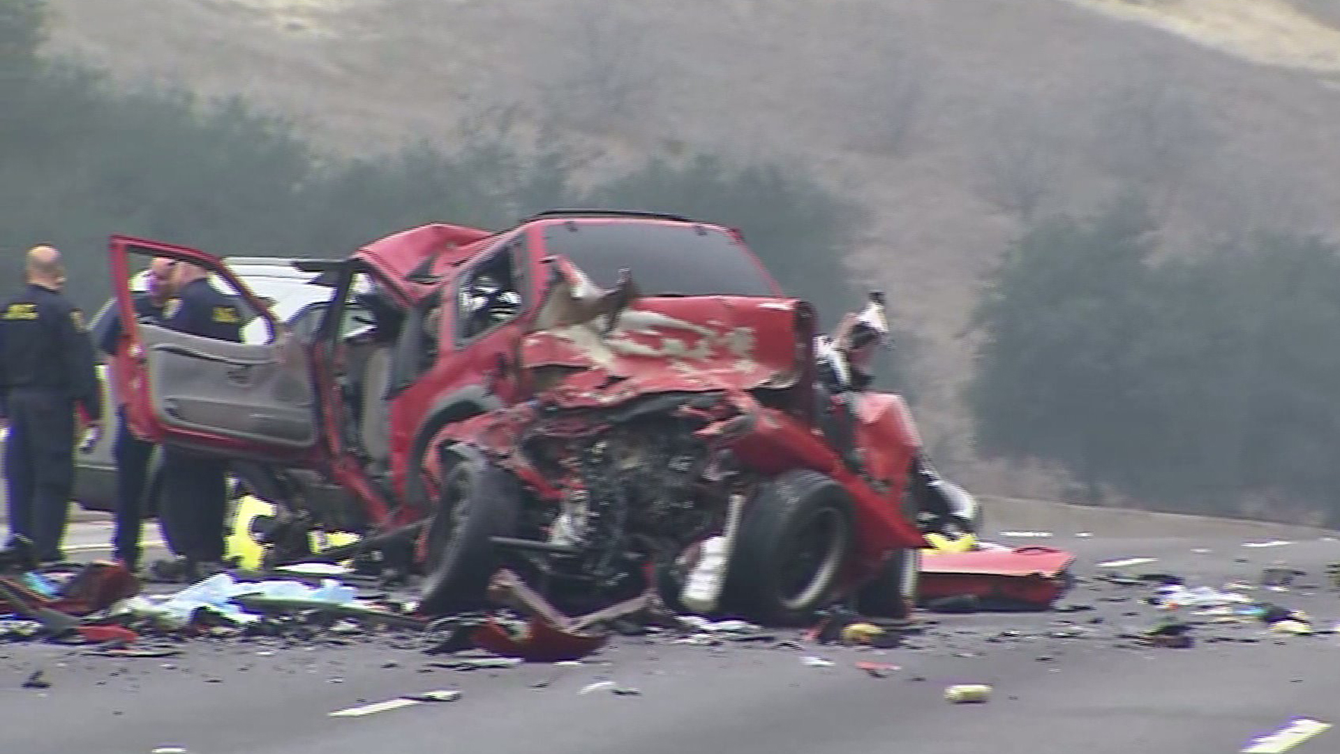 At least six people were killed in a crash involving a wrong-way driver on the 60 Freeway in Diamond Bar on Sunday, Feb. 9, 2014. (Credit: KTLA)