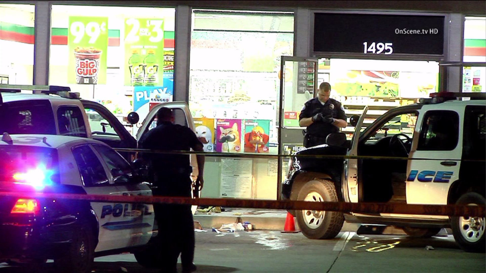 A man died after being shot by police at a Newport Beach 7-Eleven on May 29, 2014. (Credit: OnScene TV)