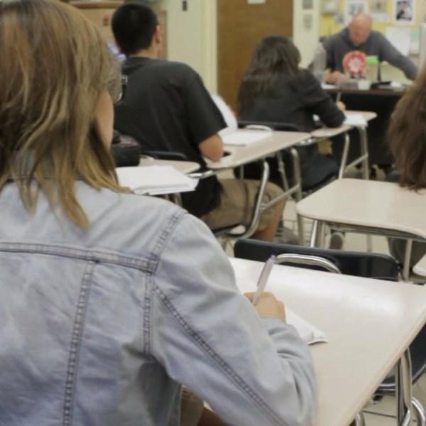 File photo of a high school classroom. (Credit: KTLA)