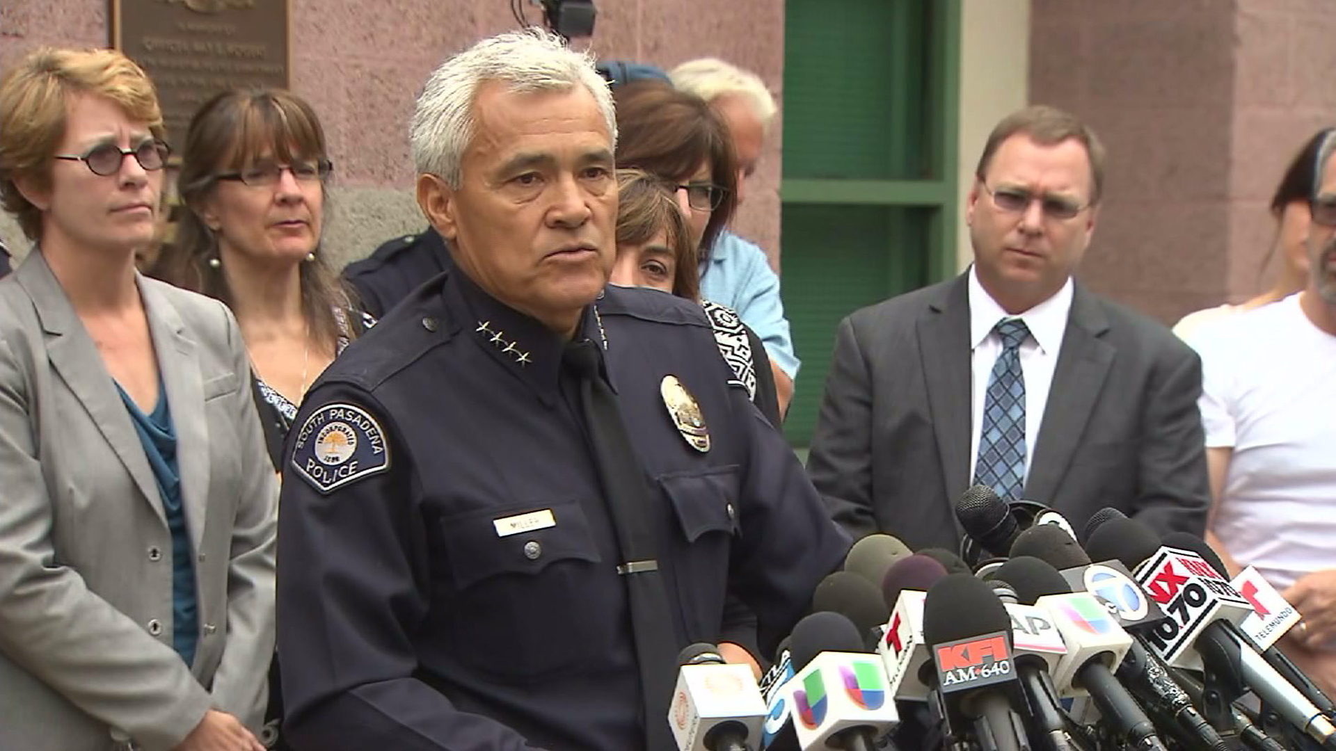 "South Pasadena police Chief Arthur Miller on Aug. 19, 2014, discusses the detention of two teens suspected of a planned ""massacre"" at the city's high school. (Credit: KTLA)"