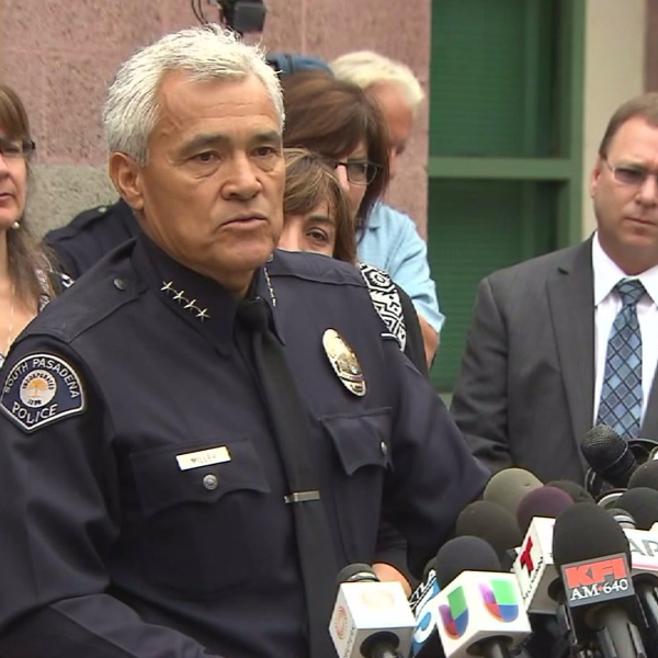 """South Pasadena police Chief Arthur Miller on Aug. 19, 2014, discusses the detention of two teens suspected of a planned """"massacre"""" at the city's high school. (Credit: KTLA)"""