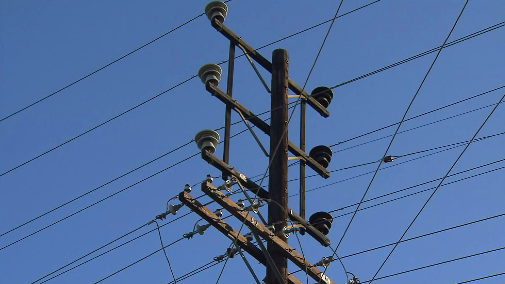 A power pole is seen in a file photo. (Credit: KTLA)