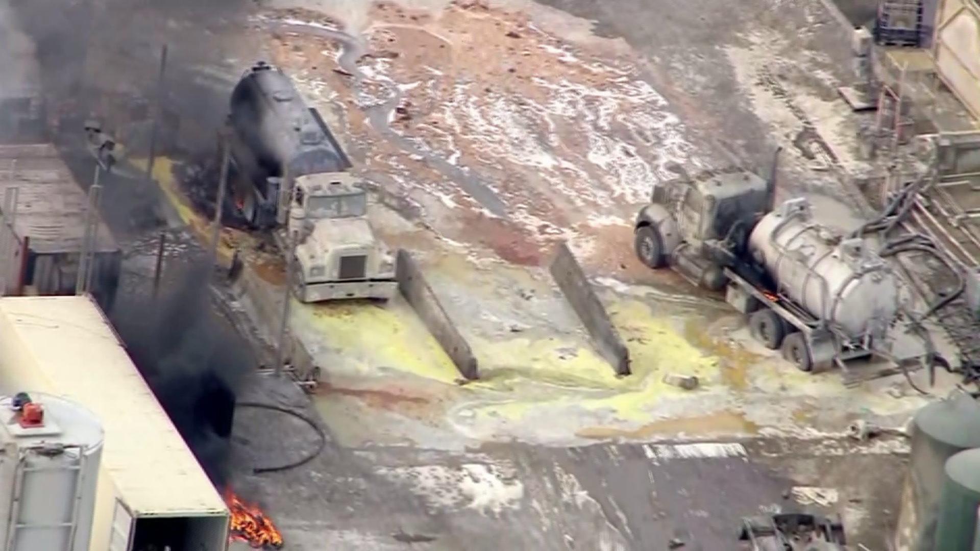 Several people were injured in an explosion at Santa Clara Waste Water Co., in Santa Paula, on Nov. 18, 2014. (Credit: KTLA)