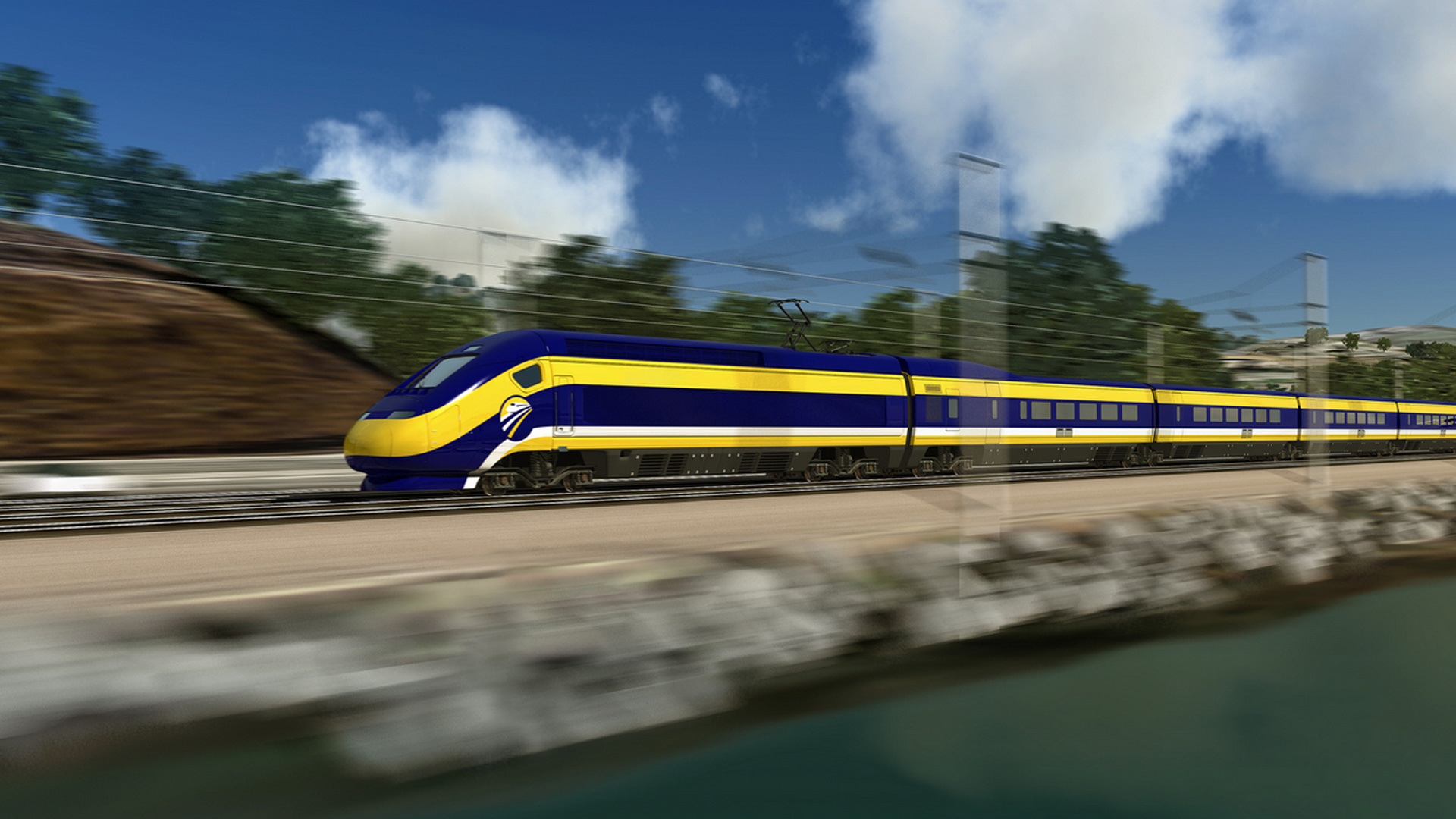 An artist's rendition of the planned bullet train is seen in this image from the California High-Speed Rail Authority.