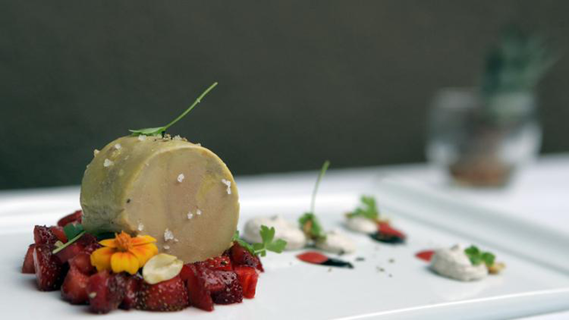 The foie gras terrine dish at Blanca Restaurant at Lido Center in Newport Beach. (Los Angeles Times)