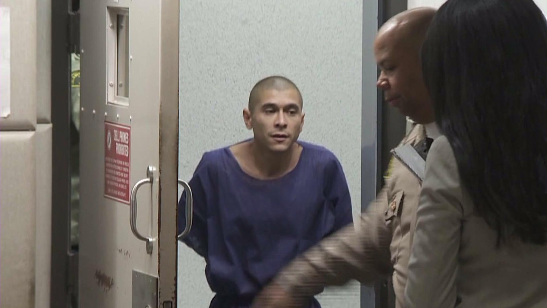 Samuel Robert Duran Jr. walks into Airport Courthouse for his arraignment on April 16, 2015. (Credit: KTLA)