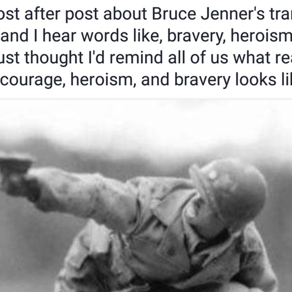 An Oregon man's June 1, 2015, post contrasting Caitlyn Jenner's bravery with that of combat soldiers was shared hundreds of thousands of times on Facebook.