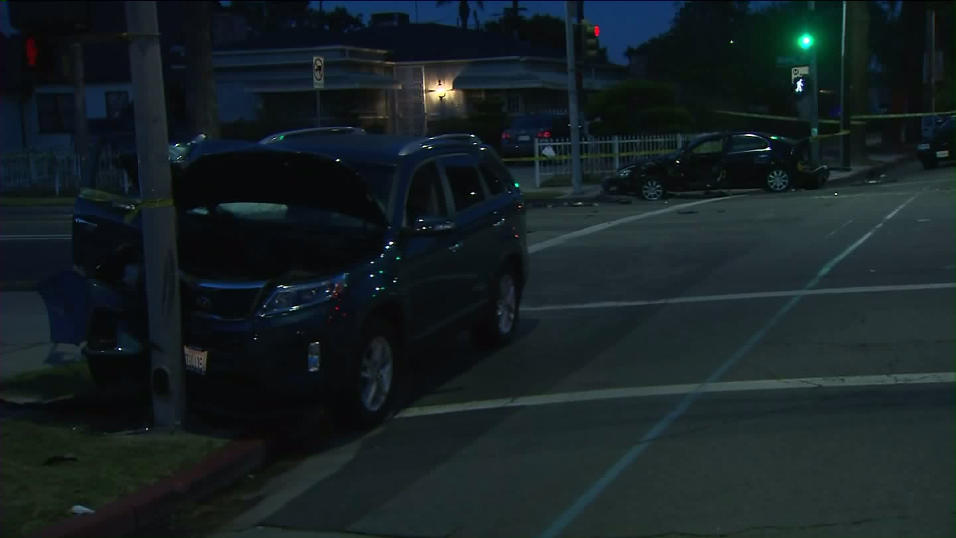 Multiple vehicles were involved in collisions after a driver was fatally shot in Leimert Park on Monday, July 20, 2015. (Credit: KTLA)