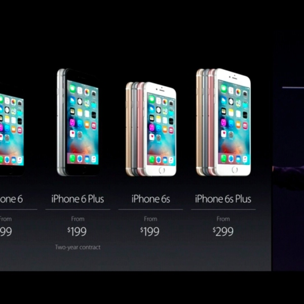 Apple unveils the iPhone 6S and 6S Plus on Sept. 9, 2015. (Credit: Apple)