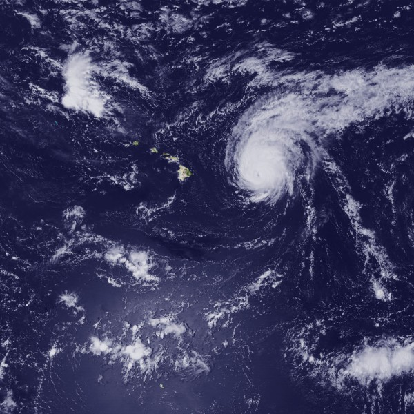 In this handout from NOAA, Hurricane Kilo, Hurricane Ignacio and Hurricane Jimena are visible in the Pacific Ocean on Aug. 31, 2015.