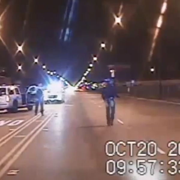 A moment before the fatal police shooting of Laquan McDonald in October 2014 is shown in a still from video released by police on Nov. 24, 2015.