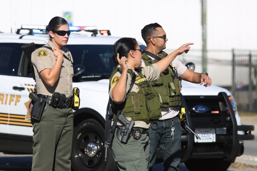 San Bernardino County Sheriff's deputies respond to a mass shooting at the Inland Regional Center on Dec. 2, 2015. (Credit: David McNew/Getty Images)
