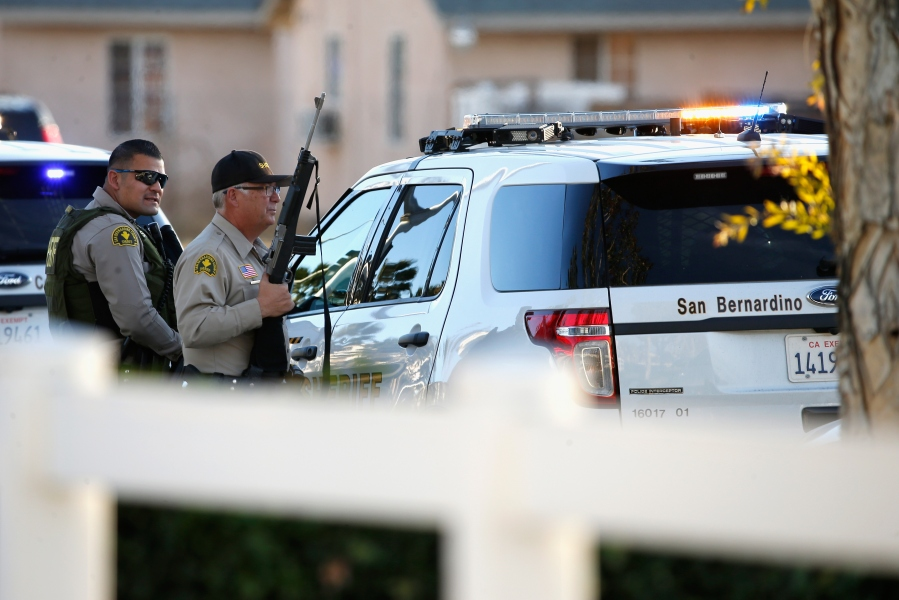 Multiple law enforcement agencies responded to a mass shooting in San Bernardino on Dec. 2, 2015. (Credit: Getty Images)
