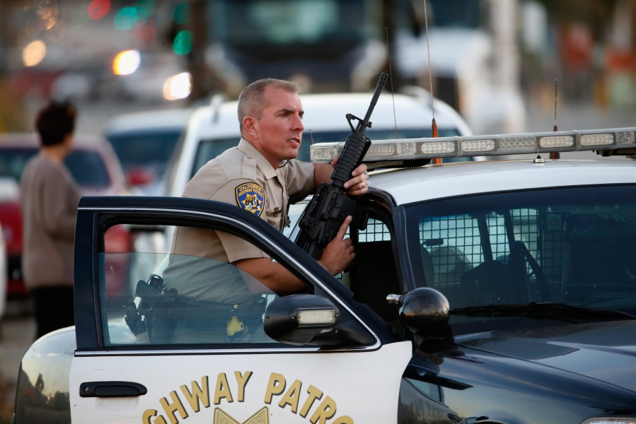A California Highway Patrol officer is seen following a mass shooting on Dec. 2, 2015. (Credit: Getty Images)