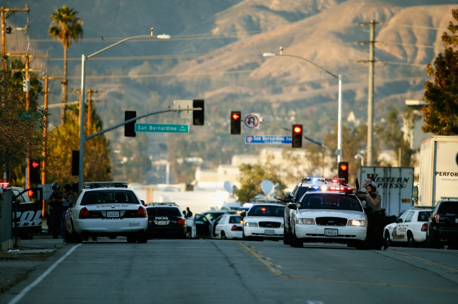 Police cars are seen in San Bernardino, California, following a mass shooting on Dec. 2, 2015. (Credit: Getty Images)