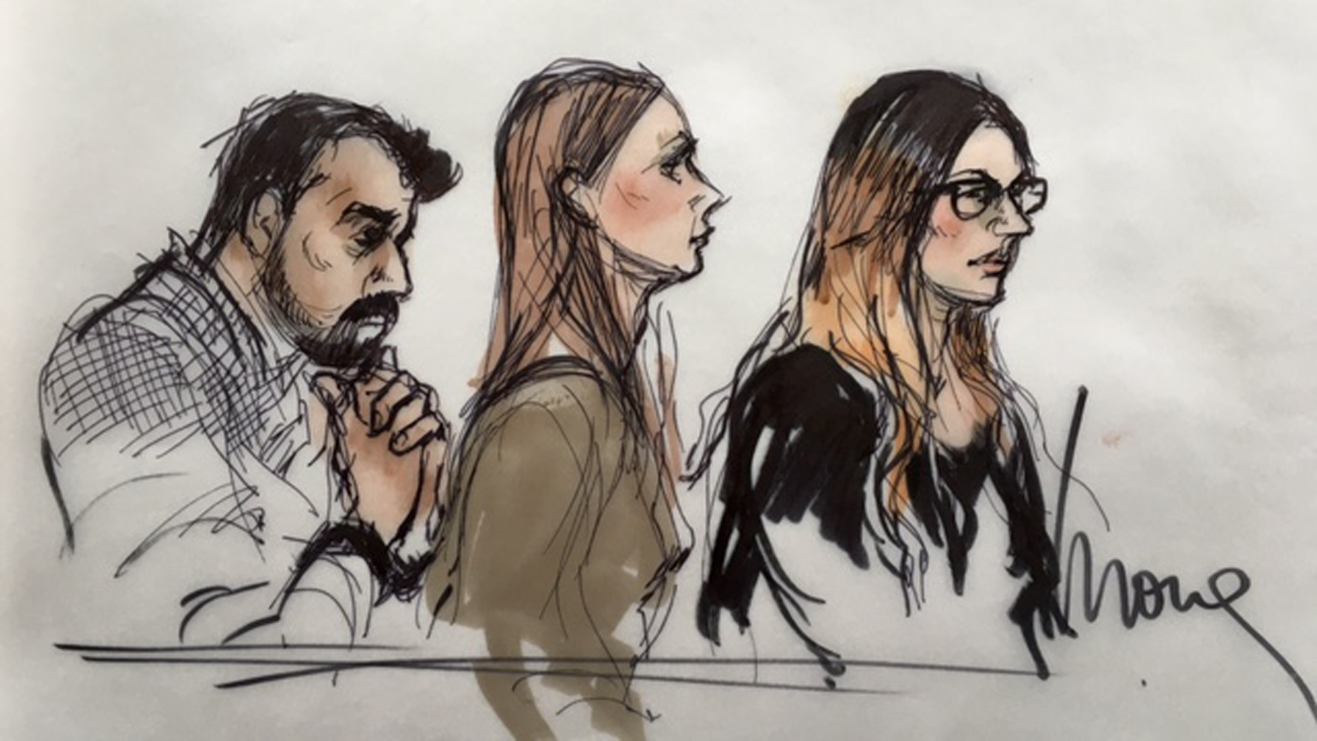 Three people connected to San Bernardino shooter Syed Rizwan Farook appear in federal court in Riverside on April 28, 2016: left to right, Syed Raheel Farook, Mariya Chernykh and Tatiana Farook. (Mona S. Edwards)