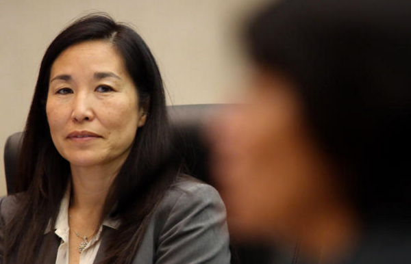 L.A. County's Chief Executive Officer Sachi Hamai is seen at a Board of Supervisors meeting in 2015. (Irfan Khan/Los Angeles Times)