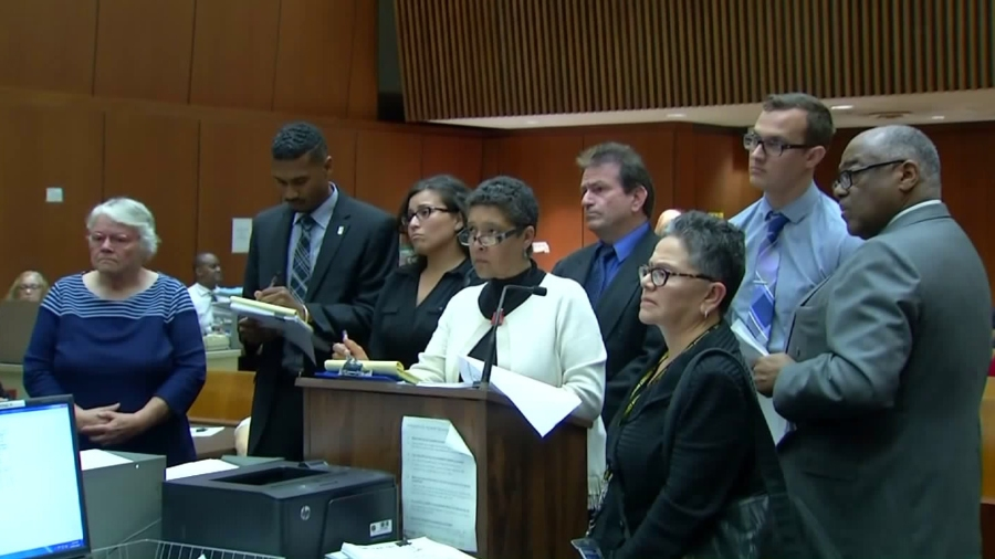 Four social workers charged in the death of Gabriel Fernandez appear in court April 7, 2016, alongside their attorneys. (Credit: KTLA)