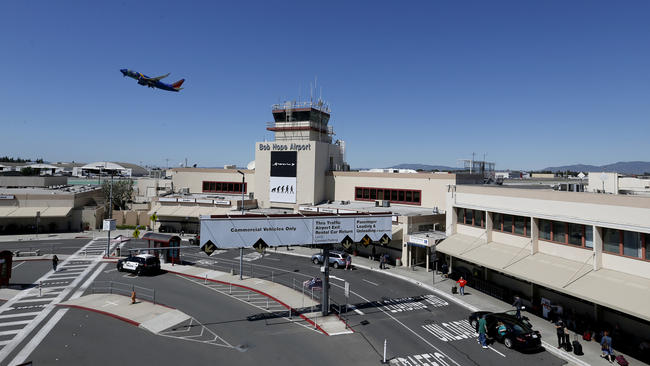 A Southwest Airlines plane takes off over Bob Hope Airport in Burbank on March 24, 2020. (Los Angeles Times)