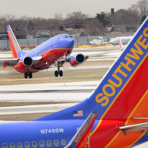Southwest Airlines jets are seen at Chicago's Midway Airport in an April 2008 file photo. (Credit: Scott Olson/Getty Images)