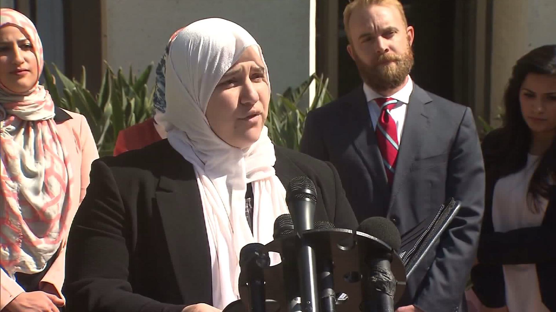 Soondus Ahmed, one of a group of women who filed a lawsuit against Urth Caffe after being ejected from the Laguna Beach location, speaks about the suit on May 3, 2016. (Credit: KTLA)