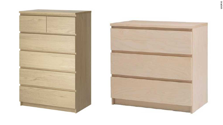The MALM 4-drawer dresser (left) and 3-drawer dresser (right) are shown in photos from IKEA's website.