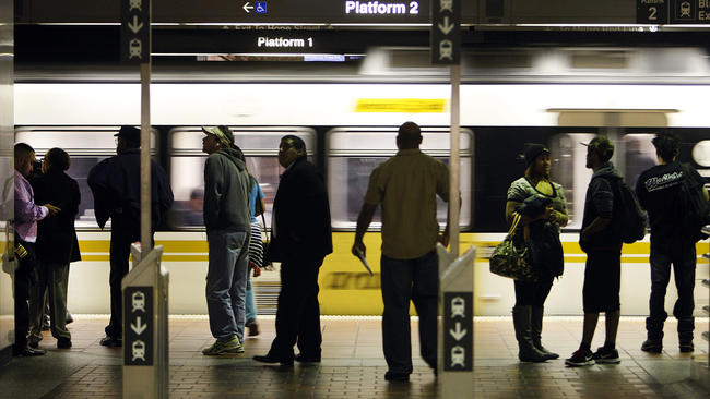 Morning commuters at the Seventh Street/Metro Center station in downtown Los Angeles in this file photo. (Credit: Los Angeles Times)