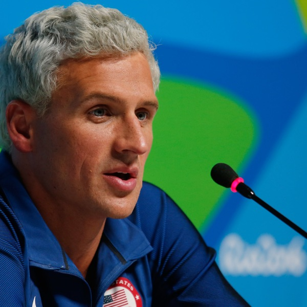 Ryan Lochte of the United States attends a press conference on Day 7 of the Rio Olympics on Aug. 12, 2016. (Credit: Matt Hazlett/Getty Images)