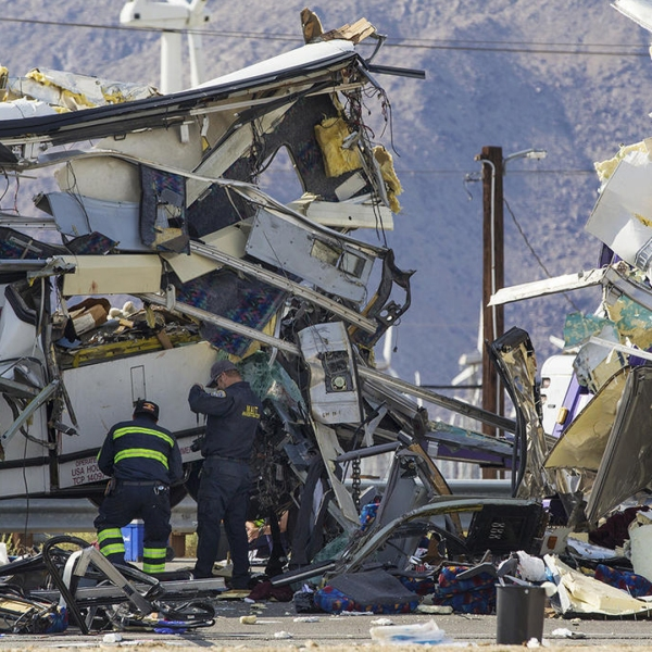 Authorities said 13 people were killed and 31 injured Oct. 23, 2016, morning when a tour bus crashed into the back of a big rig near Palm Springs. (Credit: Gina Ferazzi / Los Angeles Times)