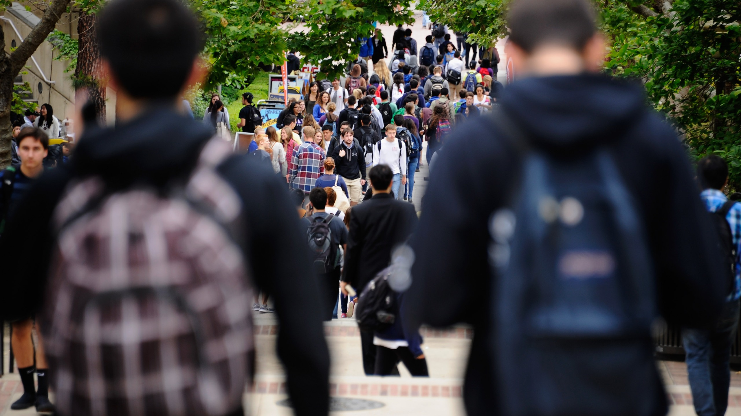 Students walk across the campus of UCLA on April 23, 2012. (Credit: Kevork Djansezian / Getty Images)