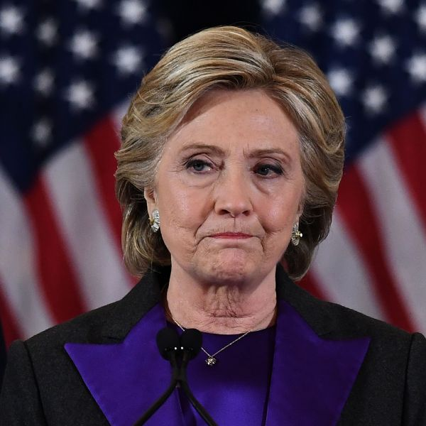 U.S. Democratic presidential candidate Hillary Clinton makes a concession speech after being defeated by Republican president-elect Donald Trump in New York on Nov. 9, 2016. (Credit: Jewel Samad/AFP/Getty Images)
