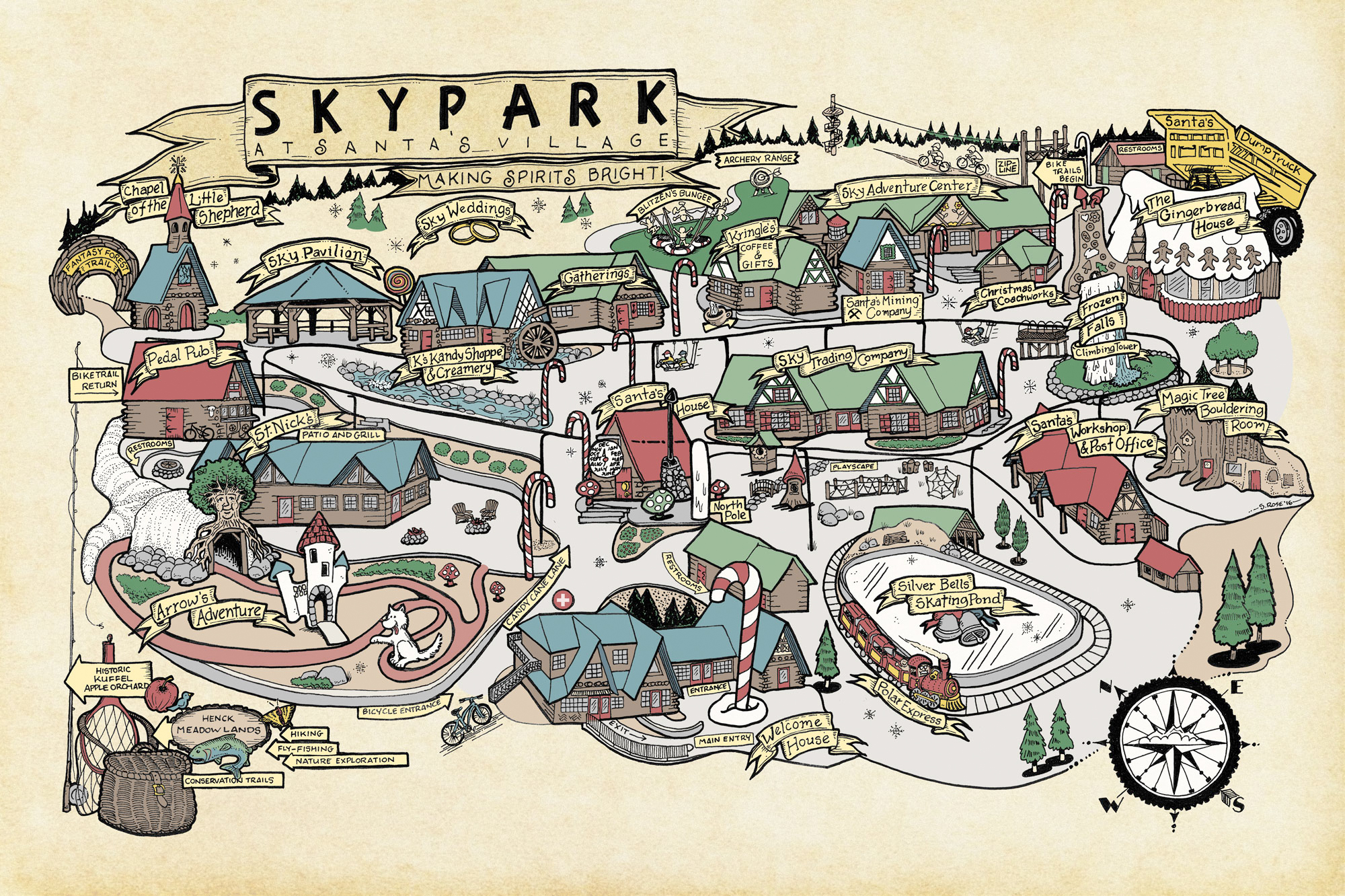 A map of SkyPark as seen on the Santa's Village website.