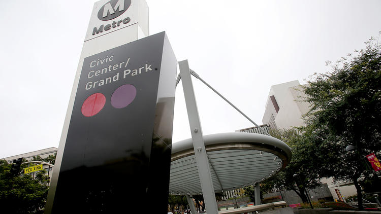 The entrance to the Red Line station in Grand Park on Dec. 23, 2016. (Credit: Luis Sinco / Los Angeles Times)