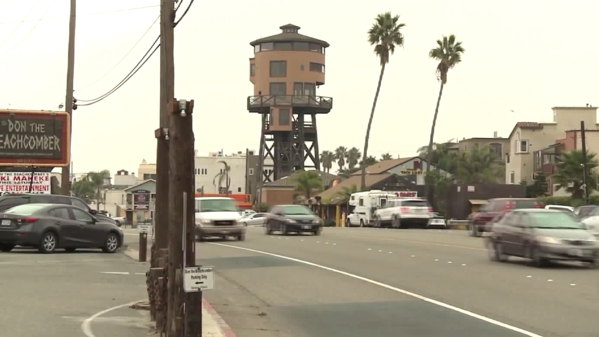 The iconic water tower house in Sunset Beach is seen in December 2016. (KTLA)