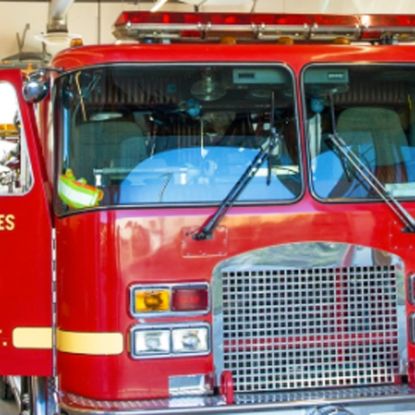 A Los Angeles County Fire Department truck is seen in this photo posted on the department's Twitter page.