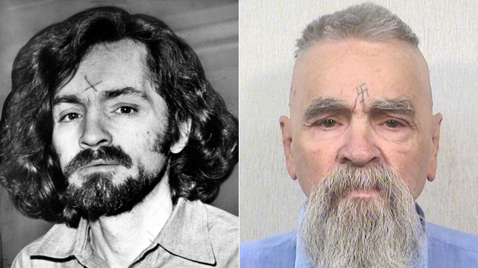 Charles Manson is seen en route to a Los Angeles courtroom in December 1970, left. Right, his state prison system inmate photo shows him on Oct. 8, 2014. (Credit: left, John Malmin / Los Angeles Times; right, California Department of Corrections and Rehabilitation)