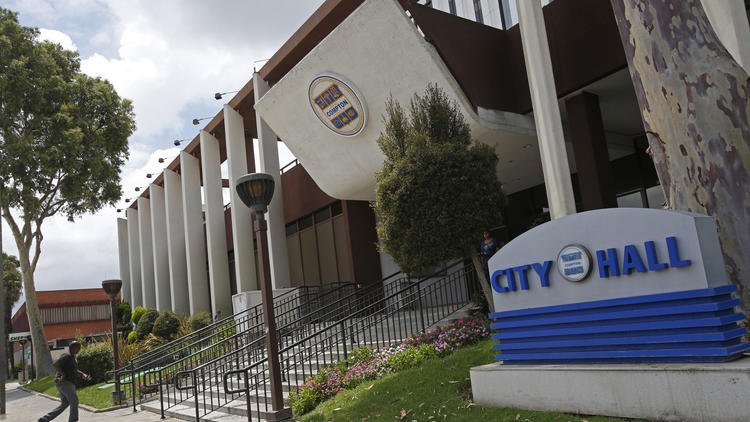 Compton City Hall is shown on July 22, 2015. (Credit: Anne Cusack/ Los Angeles Times)