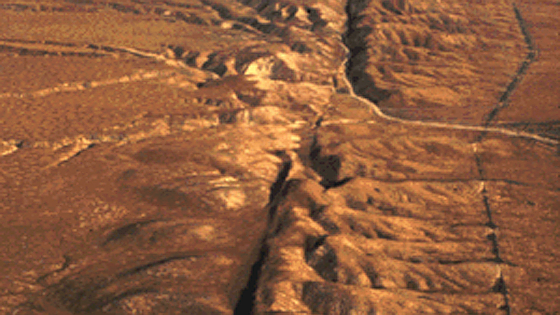 An aerial view of the San Andreas fault in the Carrizo Plain, Central California. (Credit: USGS)