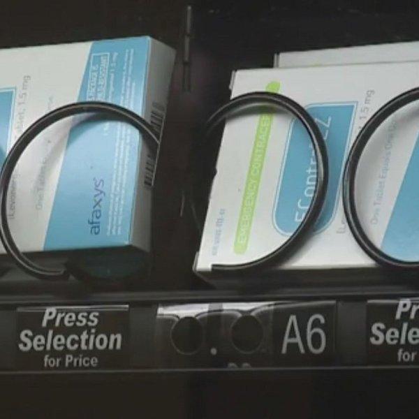 A new vending machine in a University of California Davis study room is shown carrying Plan B pills. (Credit: CNN)