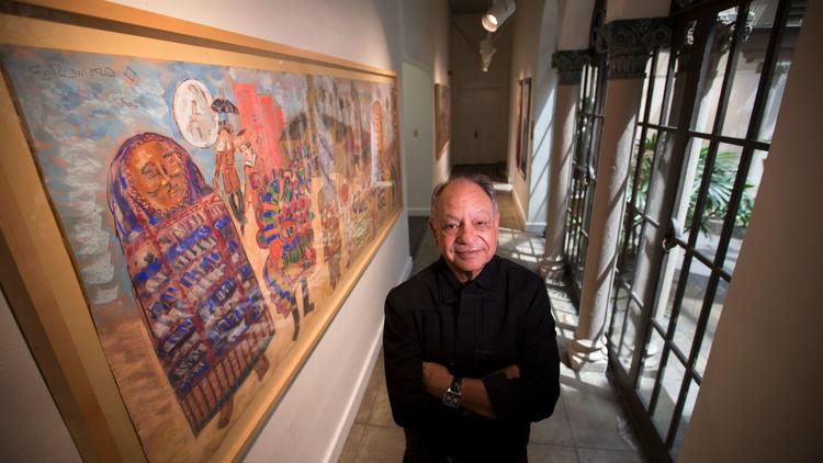 with works from his art collection, on display at the Riverside Art Museum in 2017. (Allen J. Schaben / Los Angeles Times)