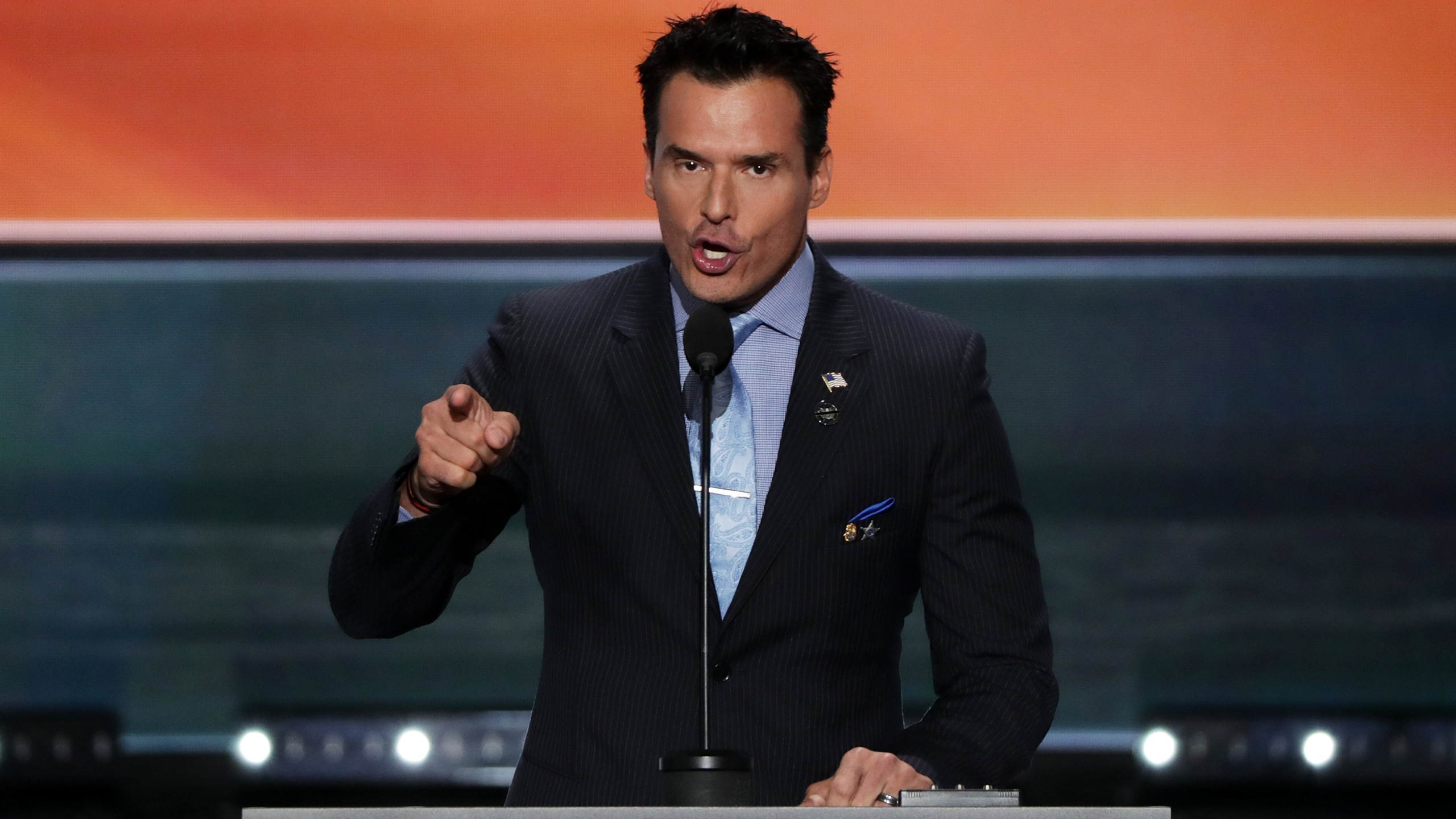 Antonio Sabato Jr. delivers a speech on the first day of the Republican National Convention on July 18, 2016 at the Quicken Loans Arena in Cleveland, Ohio. (Credit: Alex Wong/Getty Images)