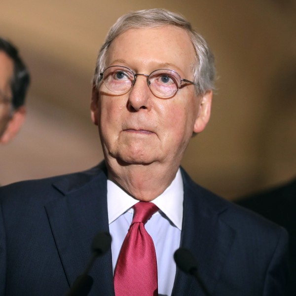 Senate Majority Leader Mitch McConnell (R-KY) (C) talks to reporters with Sen. John Barrosso (R-WY) (L) and Sen. John Thune (R-SD) following their party's weekly policy luncheon at the U.S. Capitol May 16, 2017 in Washington, DC. (Credit: Chip Somodevilla/Getty Images)