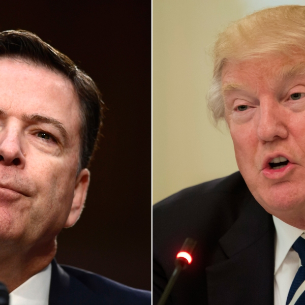Former FBI Director James Comey (left) testifies during a US Senate Select Committee on Intelligence hearing on Capitol Hill in Washington, DC, June 8, 2017. Donald Trump (right) speaks during an infrastructure summit with governors and mayors in Washington, D.C., on June 8, 2017. (Credit: Brenden Smialowski and Nicholas Kamm/AFP/Getty Images)
