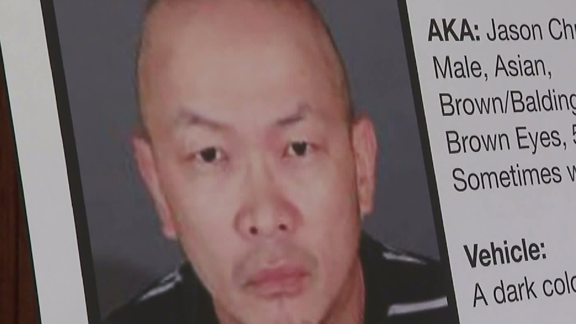 Jason Yu is seen on a poster at an L.A. County Sheriff's Department news event on June 6, 2017. (Credit: KTLA)
