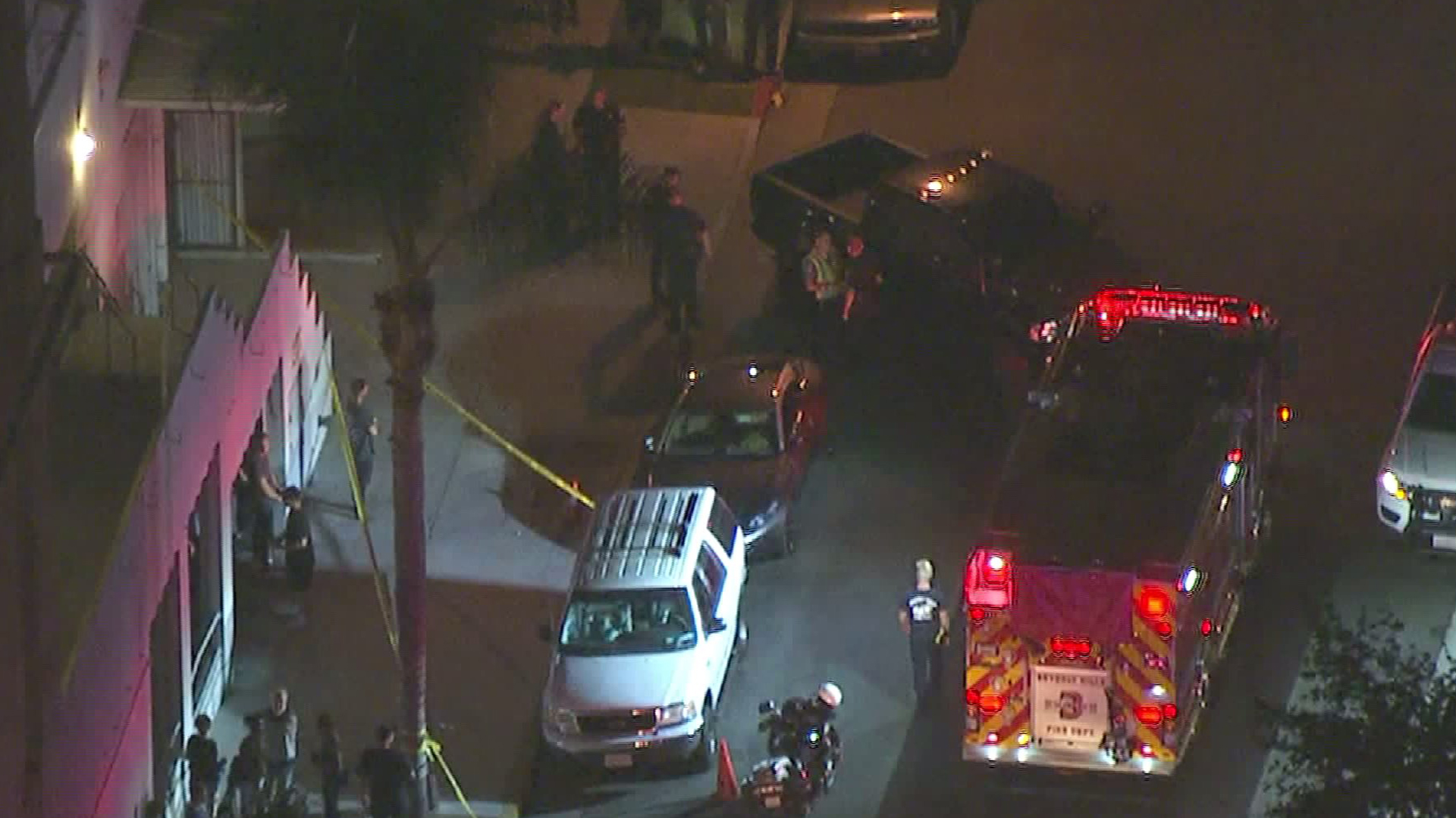 The scene of the crash in which Justin Bieber was the driver of a car that hit a pedestrian in Beverly Hills on July 26, 2017. (Credit: KTLA)