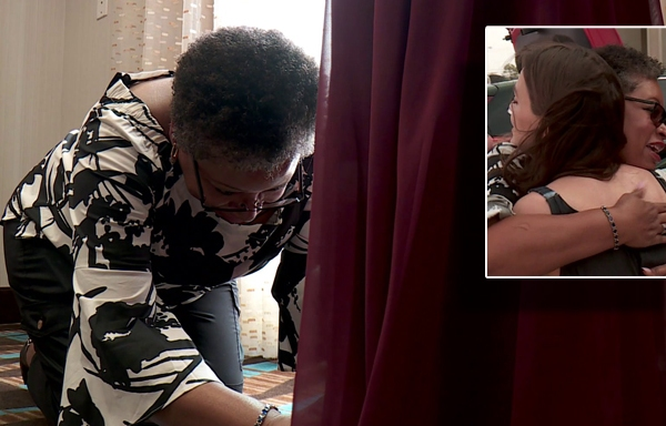 The Oklahoma City seamstress who has rescued 75 dresses for weddings is seen here. (Credit: Tribune Media Wire)