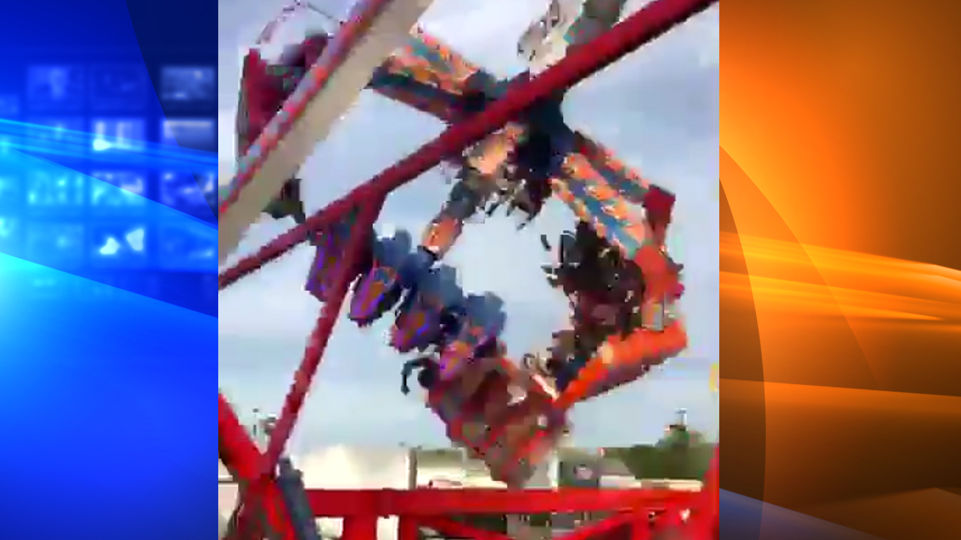 """The """"Fire Ball"""" ride that malfunctioned and left one person dead and others injured on July 25, 2017, is seen in this image. (Credit: KTLA)"""