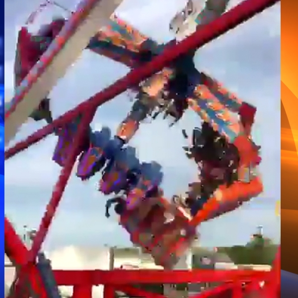 "The ""Fire Ball"" ride that malfunctioned and left one person dead and others injured on July 25, 2017, is seen in this image. (Credit: KTLA)"