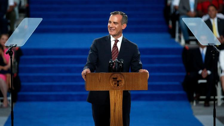 Mayor Eric Garcetti gives his acceptance speech after being sworn in for a second term on July 1, 2017. (Credit: Gary Coronado / Los Angeles Times)